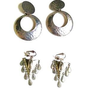 2Pr VINTAGE SilverTone  Drop Clip-on Earrings